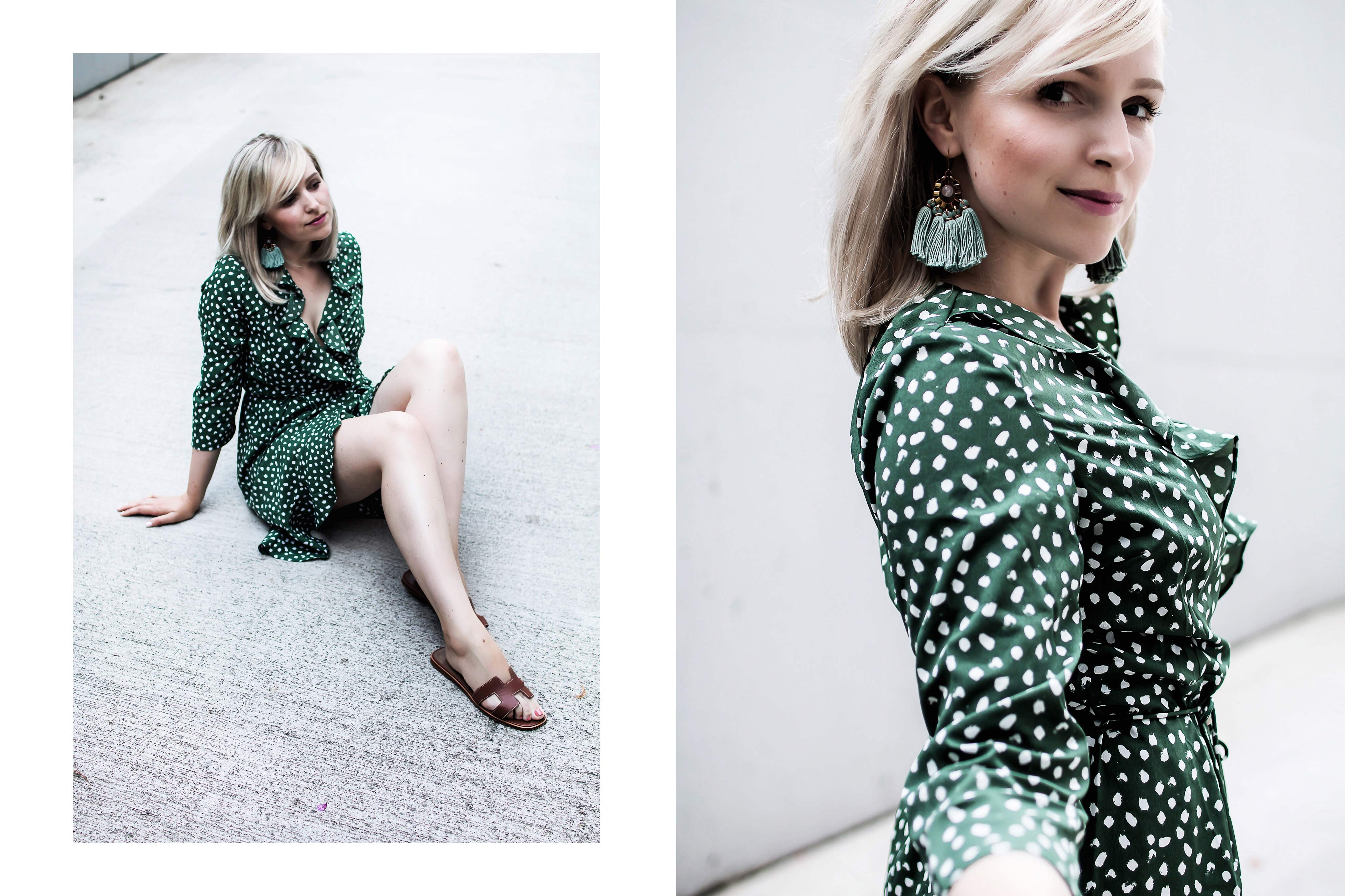 Vero Moda Kleid im Sommer Wickelkelid Trend Die Farbe Gruen