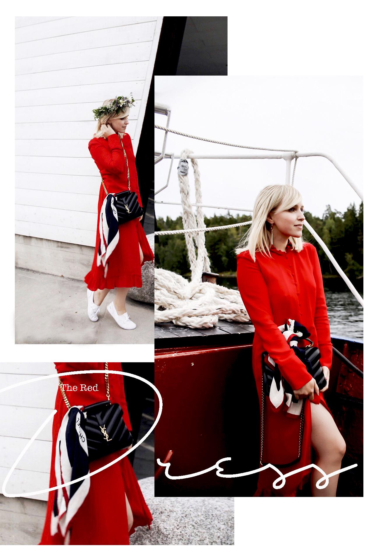 rotes Kleid YSL Midikleid chanel Vintage